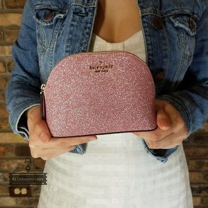 Kate Spade LOLA glitter small dome cosmetic PINK